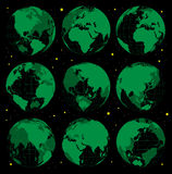 Abstract globe earth icons set. Royalty Free Stock Photo