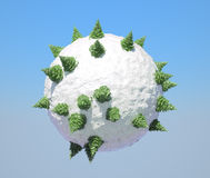 Abstract Globe with firtrees on it. And blue sky. Large resolution Stock Photography
