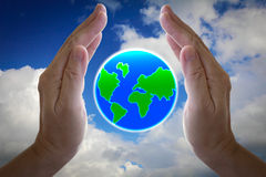 Abstract globe in the hand. Abstract globe in the hand, protect our world Stock Photo