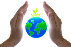 Abstract globe in the hand. Abstract globe in the hand, protect our world Stock Photos