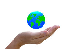 Abstract globe in the hand on white background. Abstract globe in the hand, protect our world, save the earth Stock Photos