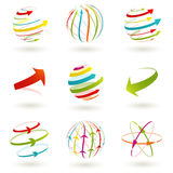 Abstract globe icon. Set of abstract colordul arrow icon stock illustration