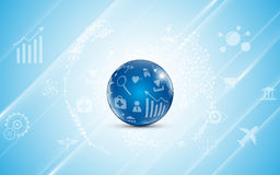 Abstract globe with internet of things icon pattern technology communication concept background Vector Illustration