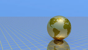 Abstract Globe over grid. And sky, 3d illustration Royalty Free Stock Photography