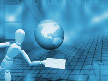 Abstract globe with person holding mail Stock Images