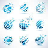 Abstract globe and puzzle symbol set stock illustration