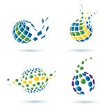 Abstract globe set of icons Royalty Free Stock Photo