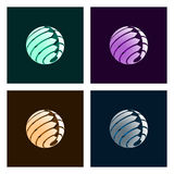Abstract Globe. Set of Abstract Globe Icons with Arrows on Light Background Stock Photo