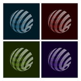 Abstract Globe. Set of Abstract Globe Icons on Dark Background Stock Photos
