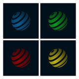 Abstract Globe. Set of Abstract Globe Icons on Dark Background Royalty Free Stock Photos