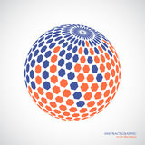 Abstract globe sphere, 3d hexagon effect. Red, blue colors Royalty Free Stock Photo