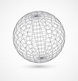 Abstract globe sphere from gray lines on white Royalty Free Stock Photos
