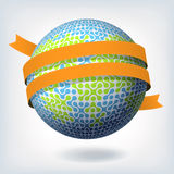 Abstract globe symbol with orange ribbon. Stock Image
