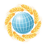 Abstract globe with wheat ears Royalty Free Stock Photo