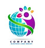 Abstract globe world colorful people report wellness together logo icon element concept vector illustrations on white background. stock illustration