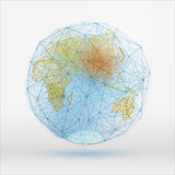 Abstract Globus 01 A-16. Abstract polygonal world map with dots connecting lines, network connections. Digital globe concept. Beautiful vector illustration in Stock Image