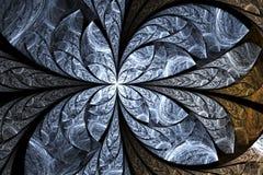 Abstract gloeiend gebrandschilderd glas met bloemenornament op zwarte achtergrond Royalty-vrije Stock Foto's