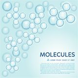 Abstract molecules design, gloss blue particles Royalty Free Stock Photos