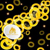 Abstract glossy background. Golden rings on black. Board vector illustration