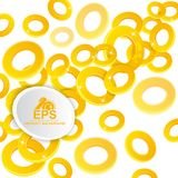 Abstract glossy background. Golden rings with depth of field effect on white. Background Stock Photos
