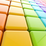 Abstract glossy background made of cubes. Abstract glossy background made of rainbow colored cubes Stock Photography