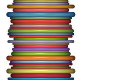 Abstract glossy coil backdrop in rainbow color on white Royalty Free Stock Photography