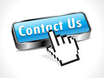 Abstract glossy contact button with hand cursor Stock Photography