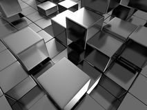 Abstract Glossy Dark Metallic Blocks Background. 3d Render Illustration royalty free illustration