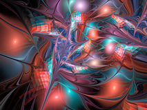 Abstract glossy figures on black background. Fractal backdrop in light red, turquoise and violet colors Stock Photography