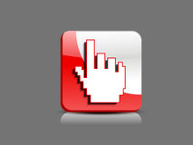 Abstract glossy  hand cursor button Royalty Free Stock Photos