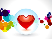 Abstract glossy heart in globe. Vector illustration stock illustration