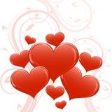 Abstract glossy heart shapes Stock Photo