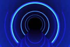 Abstract glossy interior with glow blue lines and dark in end corridor. 3d rendering Royalty Free Stock Photos
