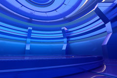 Abstract glossy interior with glow circle. 3d rendering Stock Image