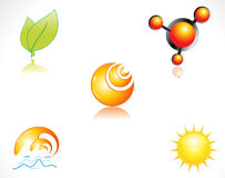 Abstract glossy multiple icons Stock Image