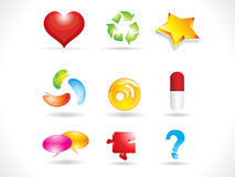 Abstract glossy multiple icons Stock Images