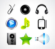 Abstract glossy music icon set Stock Photography