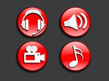 Abstract glossy music icons Stock Images