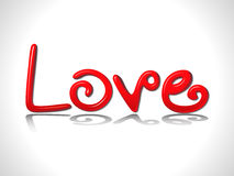 Abstract glossy red 3d love text. Vector illustration Royalty Free Stock Photos