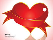 Abstract glossy red heart. Wtih pink background vector stock illustration
