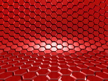 Abstract Glossy Red Hexagon Background. 3d Render Illustration Stock Images