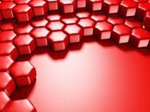 Abstract Glossy Red Hexagon Background Stock Photos