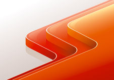 Abstract glossy red orange 3D perspective steps. Stock Photos