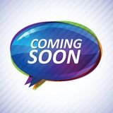 Abstract glossy speech bubble vector background. With text  Coming soon Stock Image