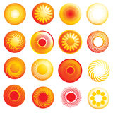 Abstract glossy sun icons Stock Photography