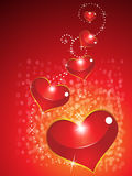 Abstract glossy valentine hearts with sparkle Royalty Free Stock Photo