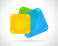 Abstract glossy web button blue, green, yellow Royalty Free Stock Image