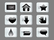 Abstract glossy web icon set Royalty Free Stock Image