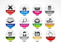 Abstract glossy web icon set Stock Photo