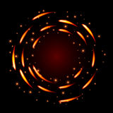 Abstract glow  background with fire round shapes and sparkles. Stock Photo